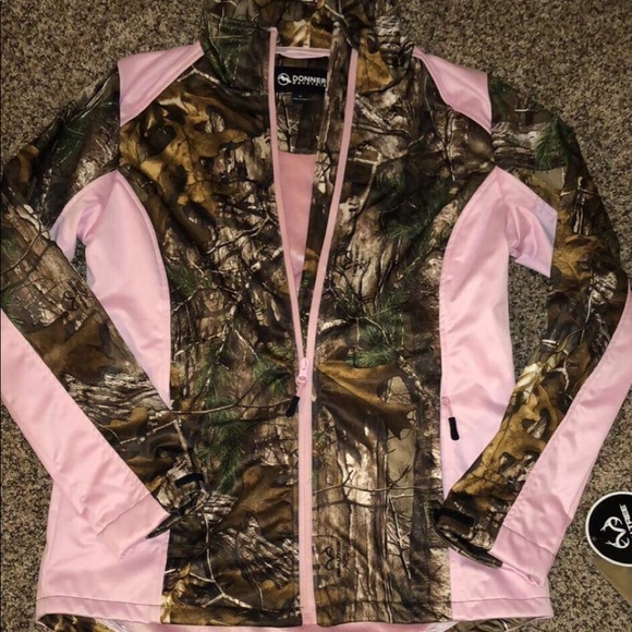 Pink Realtree Camo Womens Medium Jacket Fleece NWT Black Accents Full Zip 8-10